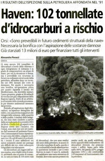 Haven: 102 tonnellate di idrocarburi a rischio - La stampa - Drafinsub