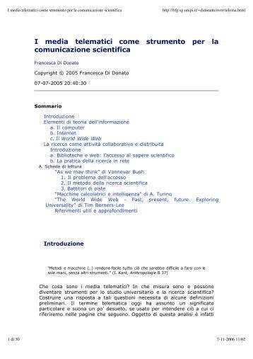 I media telematici come strumento per la comunicazione ... - e-LIS