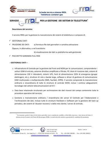 servizio per la gestione dei sistemi di telelettura - tecnosystem group