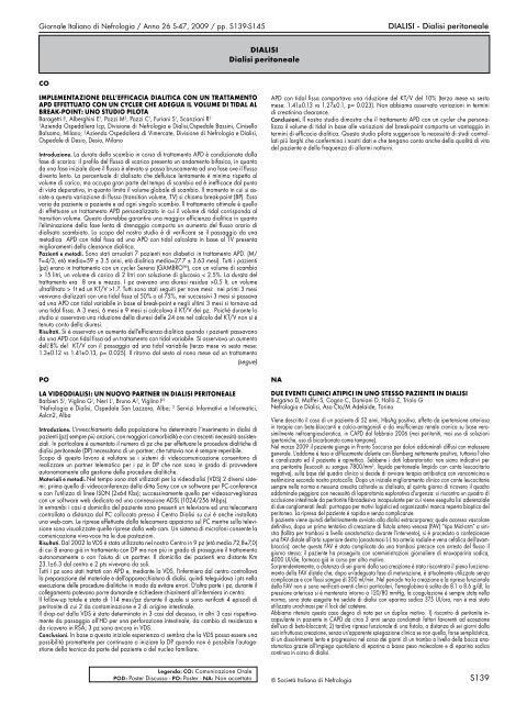 S139 DIALISI - Dialisi peritoneale DIALISI Dialisi peritoneale
