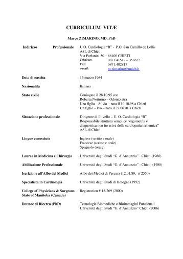 C.V. - Università Gabriele d'Annunzio