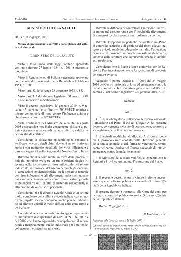 Misure di prevenzione, controllo e sorveglianza del settore avicolo ...