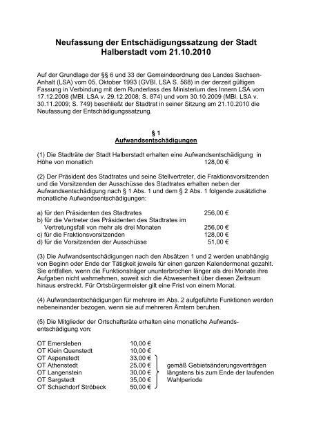 Satzung - Halberstadt