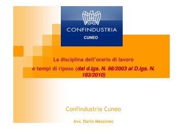 25-03-2013 Orario di lavoro Confindustria - Unione Industriali Cuneo