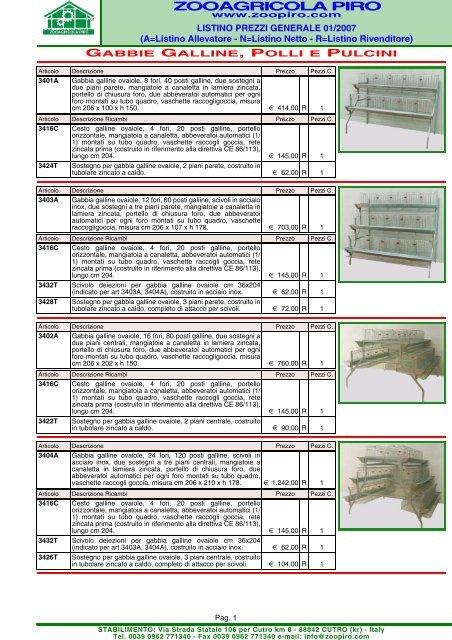 Mangiatoie in lamiera zincata MANGIATOIA X POLLI C//GANCI CM.72 PZ 1
