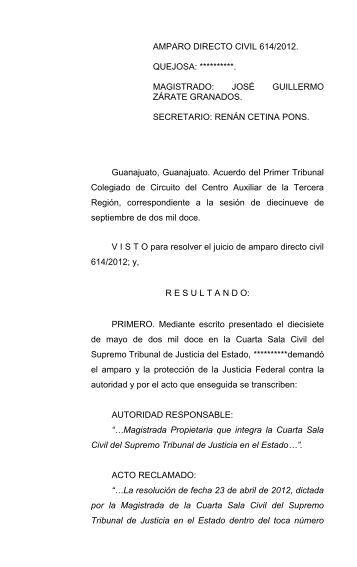 AMPARO DIRECTO CIVIL 614/2012 - Consejo de la Judicatura ...