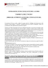 Leggi il parere n. 2/2013 della Fondazione Studi - Consulenti del ...