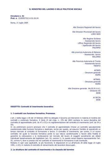 circolare ministeraile su contratto di inserimento - Dipartimento di ...