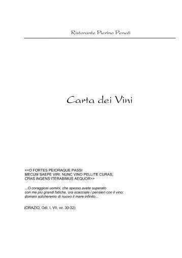 Carta dei Vini - Pierino Penati