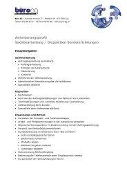 Anforderungsprofil Sachbearbeitung / Disposition Büroeinrichtungen