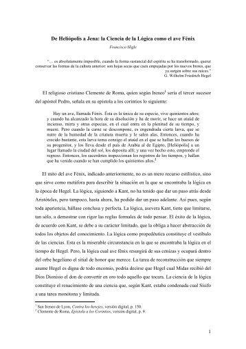 De Heliópolis a Jena: la Ciencia de la Lógica como el ave Fénix