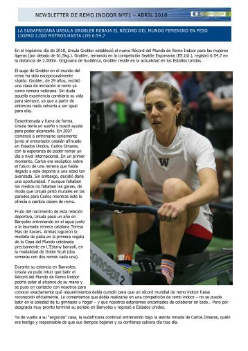 NEWSLETTER DE REMO INDOOR Nº71 – ABRIL 2010