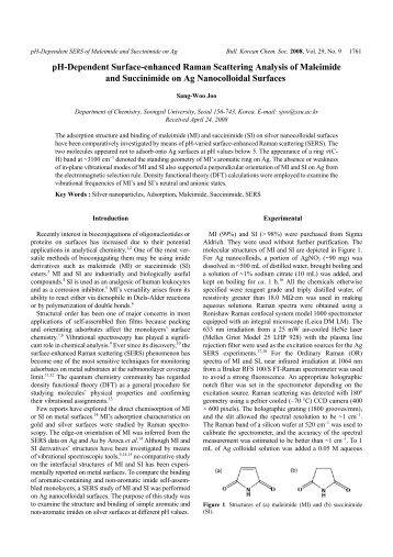 pH-Dependent Surface-enhanced Raman Scattering Analysis of ...