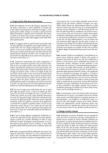 1 VII. DISCORSI NELLE STORIE DI TUCIDIDE 1. L/elogio pericleo ...