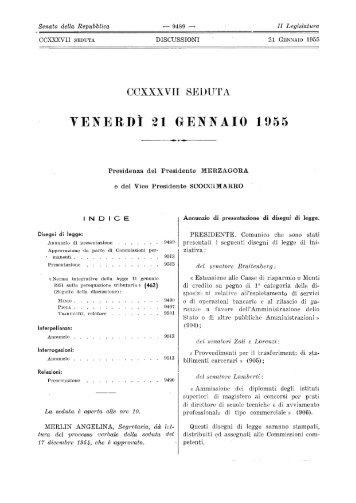 VENERDÌ 21 GENNAIO 1955 - Senato.it