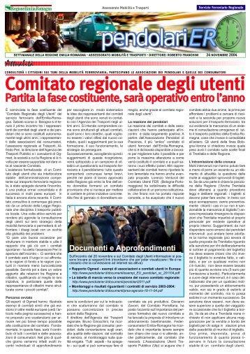 Newsletter del 24/11/2004 - Regione Emilia Romagna