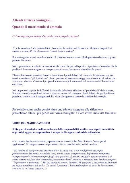Attenti al virus coniugale… - dott.ssa Stefania Samek Lodovici