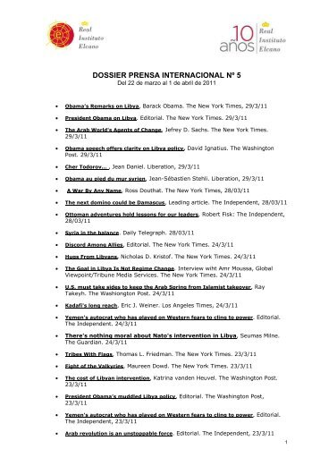 Dossier Prensa Internacional Nº 5 - Real Instituto Elcano