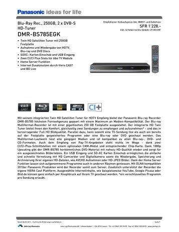 Datenblatt DMR-BS785EGK