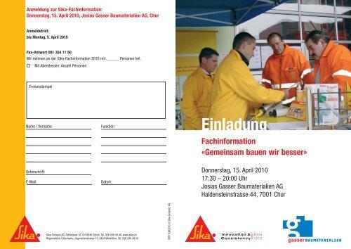 Einladung - Gasser Baumaterialien AG