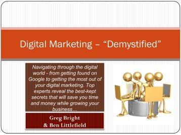 "Digital Marketing – ""Demystified"" - SEO - Search Engine Optimization"