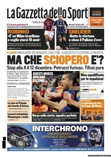 La Gazzetta dello Sport 01/12/2010 - Rugby Como ASD