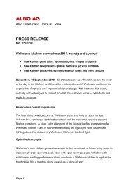 PRESS RELEASE - Alno