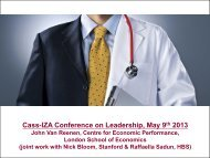 Cass-IZA Conference on Leadership, May 9 2013