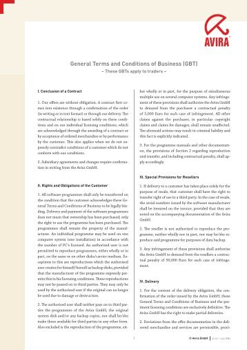 General Terms and Conditions of Business (GBT)