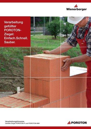 Verarbeitung gefüllter POROTON- Ziegel: Einfach ... - ENEV-Online.de