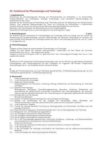 22. Fachtierarzt für Pharmakologie und Toxikologie