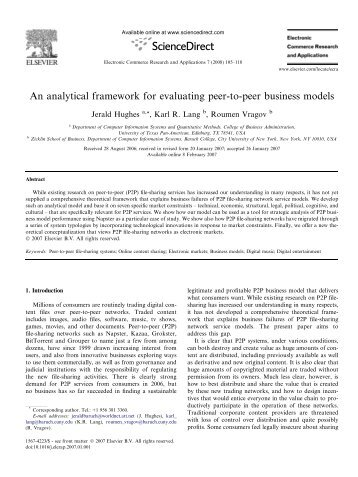 An analytical framework for evaluating peer-to-peer business models