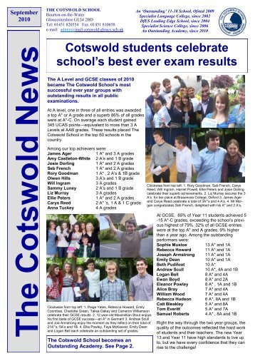 Cotswold students celebrate school's best ever exam results