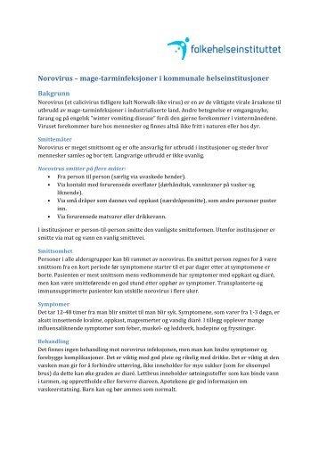 Norovirus i kommunale helseinstitusjoner - Nasjonalt ...