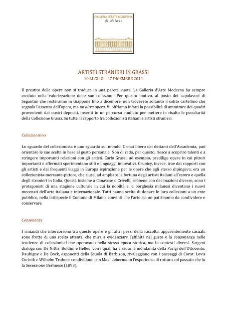 ARTISTI STRANIERI IN GRASSI - Galleria d'Arte moderna di Milano