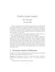 Prodotto di spazi compatti - Scienze Matematiche, Fisiche e Naturali