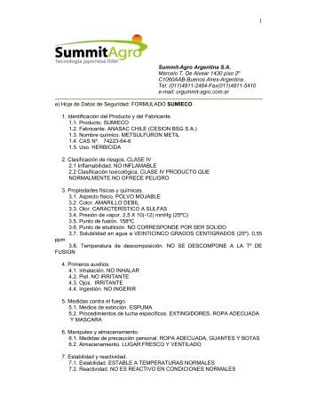 Summit-Agro Argentina S.A. Marcelo T. De Alvear 1430 piso 2º ...