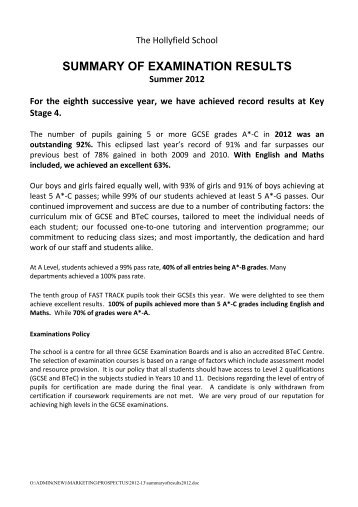 Exam Results - The Hollyfield School