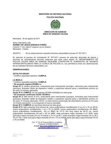 Plastia en z o w en rea for Ministerio policia nacional