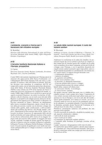P1 – Alimentazione e salute: ruolo della sanità pubblica - JPMH