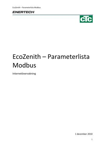 EcoZenith – Parameterlista Modbus