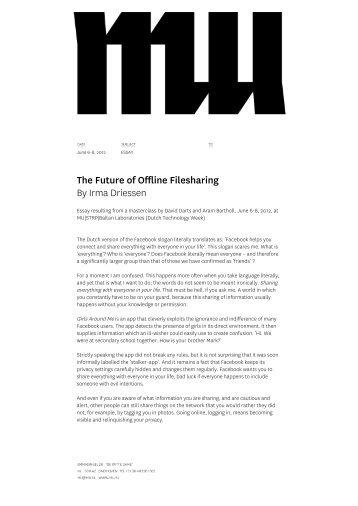 The Future of Offline Filesharing By Irma Driessen - MU