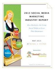 2013 SOCIAL MEDIA MARKETING INDUSTRY REPORT