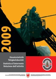 Statistica d'intervento - Provincia Autonoma di Bolzano