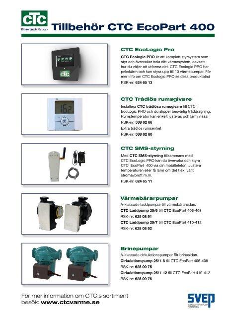 Tillbehör CTC EcoPart 400 - VVS-Experten 395175144a11b