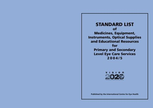 Standard list of ophthalmic equipment 2004 - World Health