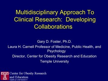 Multidisciplinary Approach To Clinical Research ... - Temple University