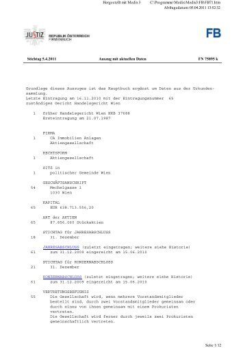 Firmenbuch » Auszug CAI 5.4.2011 - CA Immo
