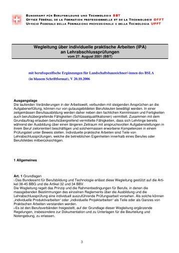 berufsspezifische Ergänzungen - BSLA