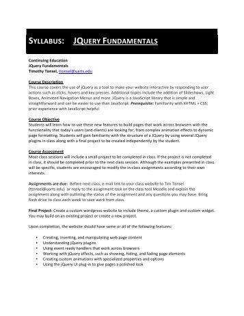SYLLABUS: JQUERY FUNDAMENTALS